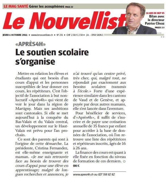 Article dans le Nouvelliste, 2012
